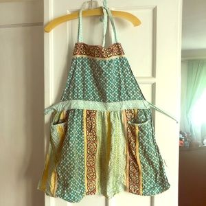 Anthro Apron Green Yellow Patterned with Ruffles